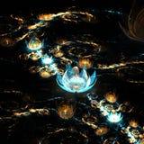 Guld- och blåttfractalen blommar att skina i mörker stock illustrationer