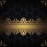 Guld och dekorativ bakgrund för svart Fotografering för Bildbyråer