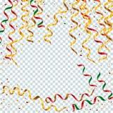 Guld- och färgrika slingrande band med guld- damm på trans. Vektor Illustrationer