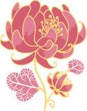 Guld- och för rosa färgblommadesign beståndsdel Arkivbild