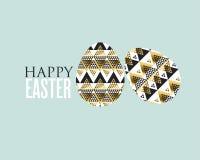 Guld- och för svartbegreppseaster ägg garnering royaltyfri illustrationer