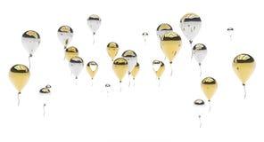 Guld- och försilvra ballonger Royaltyfri Fotografi