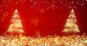 Guld- och försilvra ljus med julträdet på röd bakgrund, ljus garnering för glat xmas-hälsningmeddelande elegantt stock illustrationer