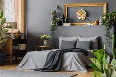 Guld och grått elegant sovrum royaltyfri bild