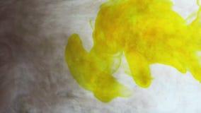 Guld- och gult färgpulver i vattenbehållare stock video