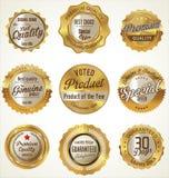 Guld och högvärdiga kvalitetsetiketter för svart Arkivfoton