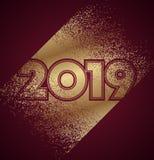 Guld och mörker - röd design för nytt år 2019 med konfettier Royaltyfri Illustrationer