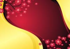 Guld- och röd bakgrund med blomman royaltyfri illustrationer