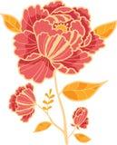 Guld- och röd blommadesignbeståndsdel royaltyfri illustrationer