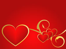 Guld- och röd förälskelsebakgrund Arkivfoton