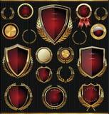 Guld- och röd sköld-, lager- och medaljsamling Royaltyfri Fotografi