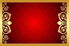 Guld- och röd kunglig ram Royaltyfri Foto