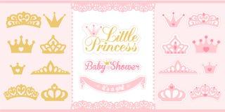Guld och rosa färgkronauppsättning Små prinsessadesignbeståndsdelar Royaltyfria Bilder