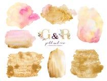 Guld- och rosa form för bakgrund för vattenfärgakrylmålarfärg Abstrakt guld- målarfärg för konstborstefärgpulver på vit Garnering royaltyfri illustrationer