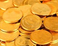 Guld och silver färgar det thailändska myntet Pengar är baht- eller badvaluta arkivfoton