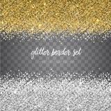 Guld och silver för vektor blänker skinande gränsuppsättningen som isoleras på tran Royaltyfri Foto