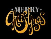 Guld och silver texturerad glad jul för text Arkivbilder