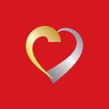 Guld och silver Valentine Heart Arkivfoto