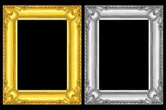 guld- och silverramar som isoleras på svart arkivbilder