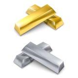 Guld- och silverstänger Royaltyfri Fotografi