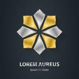 Guld- och silverstjärnalogo Symbol för utmärkelse 3d Metalliska logotypvikarier Royaltyfri Fotografi