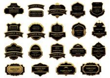 Guld- och svart tappningetikettuppsättning Royaltyfri Bild