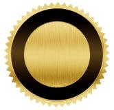 Guld och svartmedalj med den snabba banan Arkivfoto