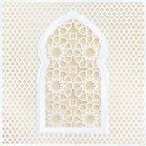 Guld- och vitt arabiskt dekorativt moskéfönster Vektorillustrationkort, inbjudan för muslimsk gemenskaphelgedommånad stock illustrationer