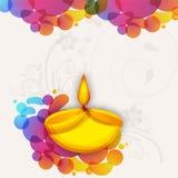 Guld- olje- lampa (Diya) för Diwali beröm Arkivfoto