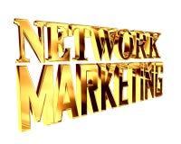 Guld- omfattande nätverksmarknadsföringstext på en vit bakgrund royaltyfri illustrationer