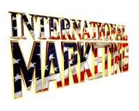 Guld- omfattande text för internationell marknadsföring på en vit bakgrund royaltyfri illustrationer