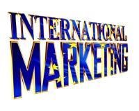 Guld- omfattande text för internationell marknadsföring på en vit bakgrund stock illustrationer