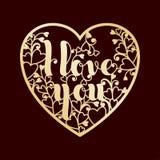 Guld- openwork hjärta med inskriften älskar jag dig Royaltyfria Bilder