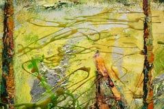 Guld- orange borsteslaglängder för abstrakt målarfärg, hypnotisk bakgrund för organisk textil Royaltyfri Foto