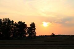 Guld- orange soluppgång i lantliga Ontario royaltyfria foton