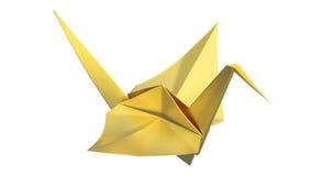 guld- origamifågel för illustration 3D Arkivbild