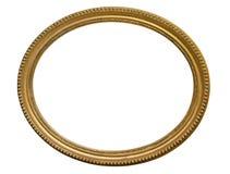 Guld- oval bildram Isolerat över vit Royaltyfria Bilder