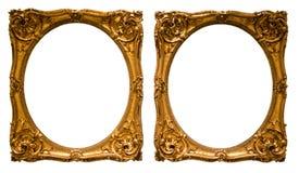 Guld- oval ram för fotografi på isolerad bakgrund royaltyfria bilder