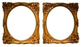 Guld- oval ram för fotografi på isolerad bakgrund royaltyfri bild