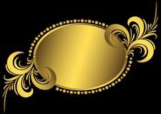 guld- oval tappning för ram Royaltyfri Bild