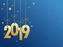 Guld- 2019 på blå bakgrund med stjärnor royaltyfri illustrationer