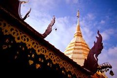 Guld- pagod i blå himmel fotografering för bildbyråer
