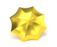 Guld- paraply som isoleras på vit Royaltyfri Bild