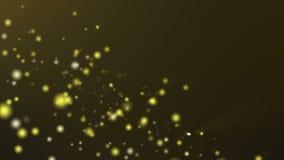 Guld- partikelflöde på mörk guld- bakgrund royaltyfri illustrationer