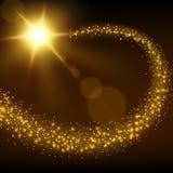 Guld- partikelslingabakgrund Arkivbild