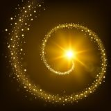 Guld- partikelslingabakgrund Arkivbilder