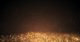 Guld- partiklar som flyttar bakgrund Partikel underifrån Partikelguldstoft som flimrar på svart bakgrund