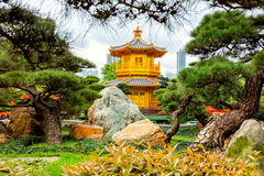 Guld- paviljong, Hong Kong, Kina Royaltyfria Foton