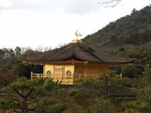 Guld- Pavillion (den Kinkaku-ji templet), Kyoto, Japan Arkivfoto