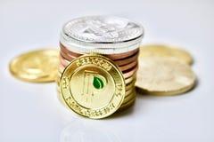 Guld- peercoinmynt Arkivbilder